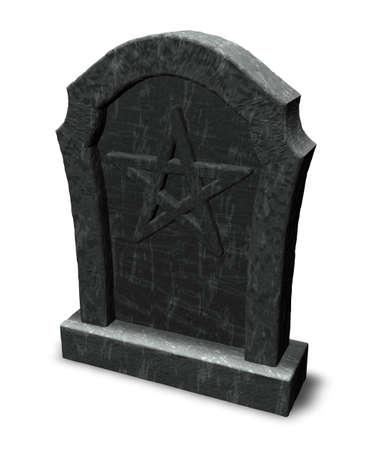 pentacle on gravestone - 3d illustration Stock Illustration - 16171768