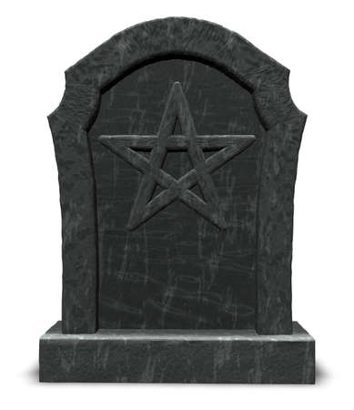 pentacle on gravestone - 3d illustration Stock Illustration - 16171772