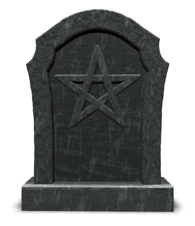pentacle on gravestone - 3d illustration Stock Illustration - 16171772