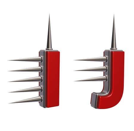 prickles: letters i and j with metal prickles on white background - 3d illustration Stock Photo