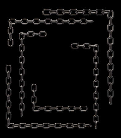 metal chains frame borders on black background - 3d illustration Stock Illustration - 16171761