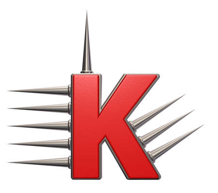 letter k with metal prickles on white background - 3d illustration Stock Illustration - 16171753