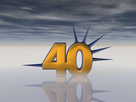 forty: number forty with prickles under dark sky - 3d illustration