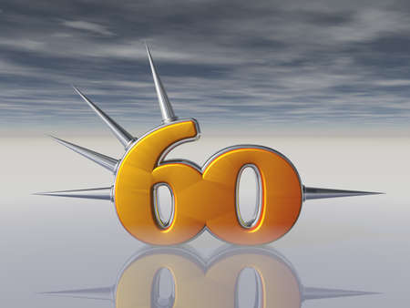 sixty: number sixty with prickles under dark sky - 3d illustration