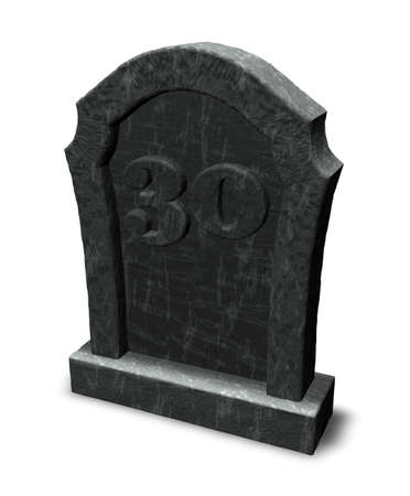 gravestone with number thirty on white background - 3d illustration illustration