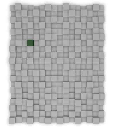 stranger: grey and green cubes background - 3d illustration