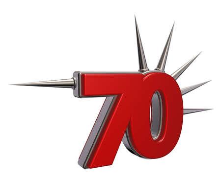 prickles: number seventy with prickles on white background - 3d illustration