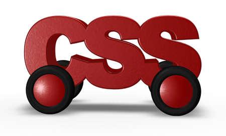 css tag on wheels - 3d illustration Stock Illustration - 16270571