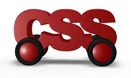 css tag on wheels - 3d illustration Stock Illustration - 16270571