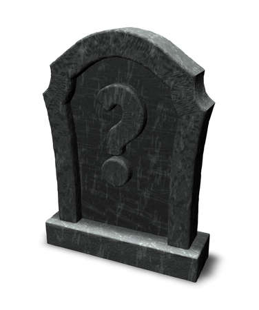 gravestone with question mark on white background - 3d illustration illustration