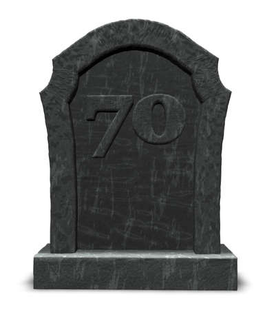 seventy: gravestone with number seventy on white background - 3d illustration Stock Photo
