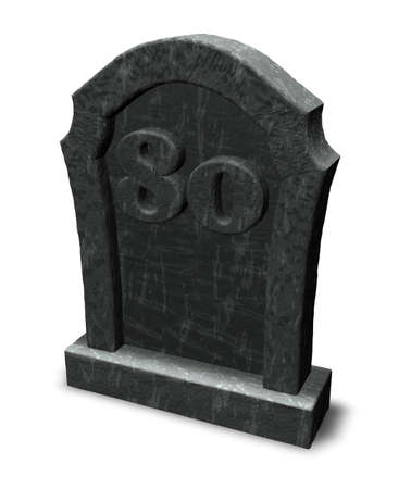 gravestone with number eighty on white background - 3d illustration illustration