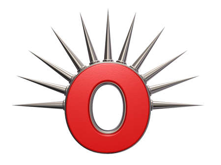 letter o with metal prickles on white background - 3d illustration Stock Illustration - 16270637