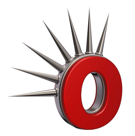 prickles: letter o with metal prickles on white background - 3d illustration