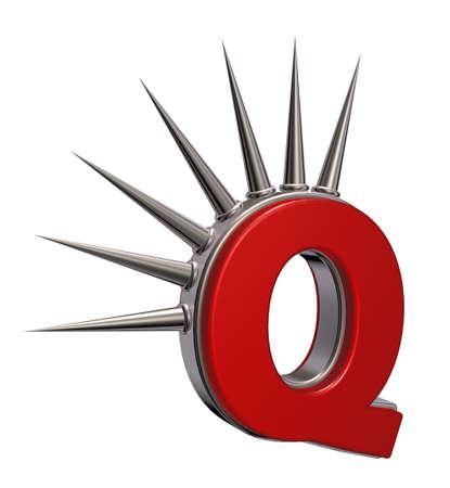 prickles: letter q with metal prickles on white background - 3d illustration