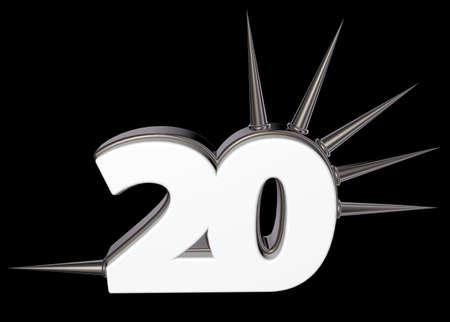 prickles: number twenty with prickles on black background - 3d illustration