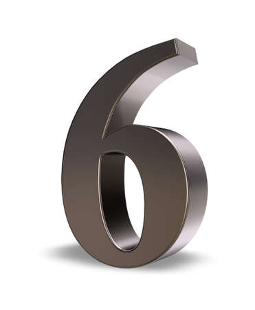 metal number six on white background - 3d illustration
