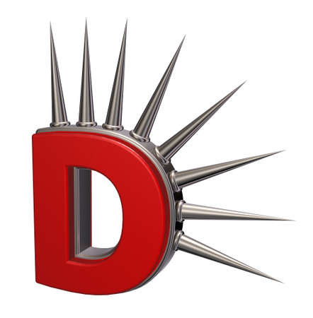 letter d with metal prickles on white background - 3d illustration illustration