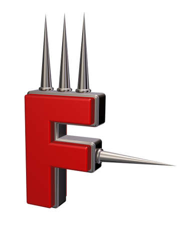 letter f with metal prickles on white background - 3d illustration Stock Illustration - 16270664