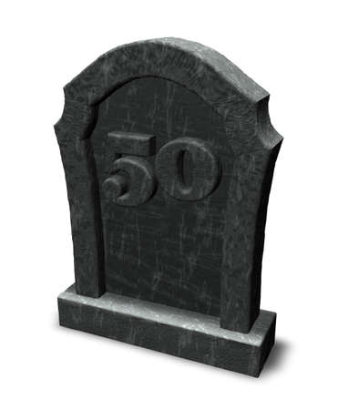 gravestone with number fifty on white background - 3d illustration illustration