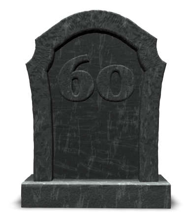 sixty: gravestone with number sixty on white background - 3d illustration