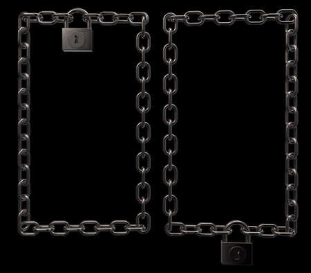 padlock on metal chains frame border on black background - 3d illustration Stock Illustration - 16270680