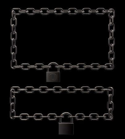 padlock on metal chains frame border on black background - 3d illustration Stock Illustration - 16270679