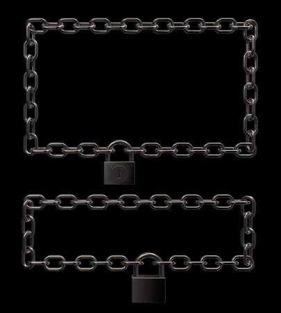 padlock on metal chains frame border on black background - 3d illustration Stock Illustration - 16270679