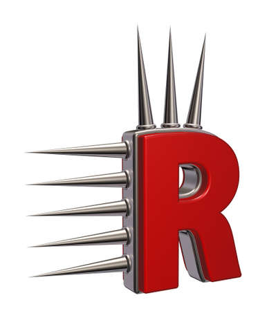 letter r with metal prickles on white background - 3d illustration illustration