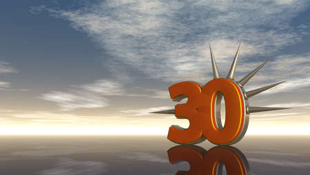 prickles: number thirty with prickles under cloudy sky - 3d illustration