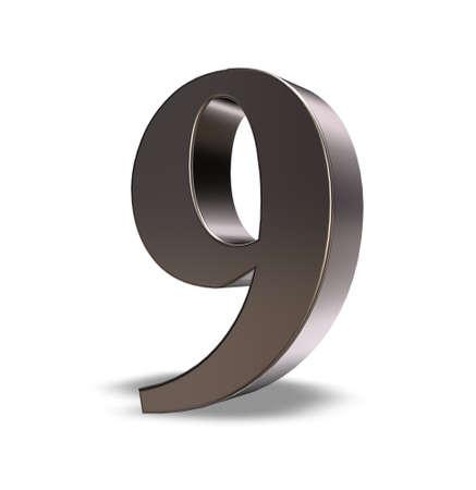 metal number nine on white background - 3d illustration illustration
