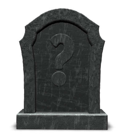 gravestone with question mark on white background - 3d illustration