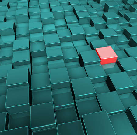 red and green cubes background - 3d illustration Zdjęcie Seryjne