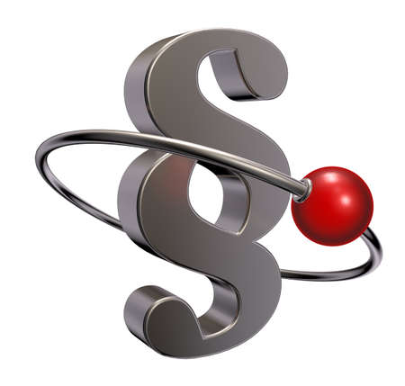 judicature: red sphere fly around paragraph symbol - 3d illustration