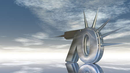 seventy: number seventy with prickles under cloudy blue sky - 3d illustration Stock Photo