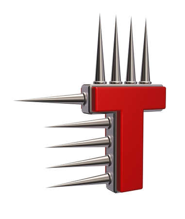 prickles: letter t with metal prickles on white background - 3d illustration