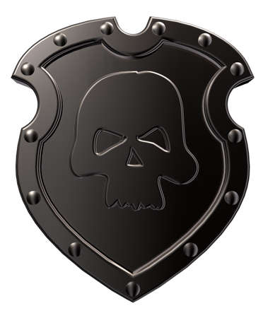 metal shield with skull symbol on white background - 3d illustration illustration