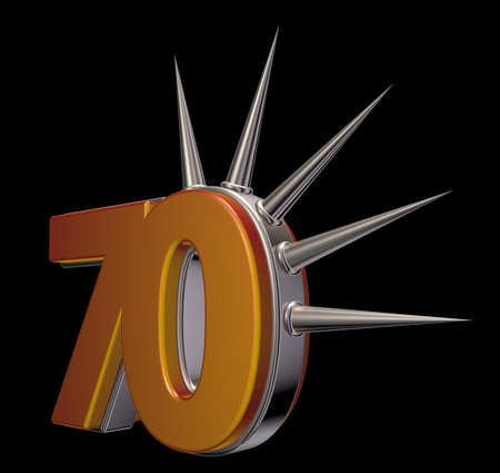 seventy: number seventy with prickles on black background - 3d illustration