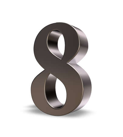 8 years birthday: metal number eight on white background - 3d illustration Stock Photo