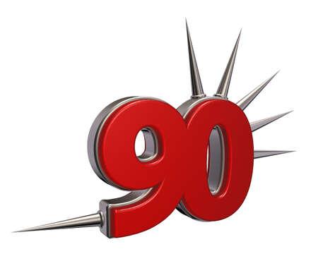ninety: number ninety with prickles on white background - 3d illustration Stock Photo