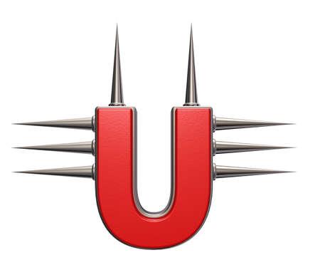 prickles: letter u with metal prickles on white background - 3d illustration