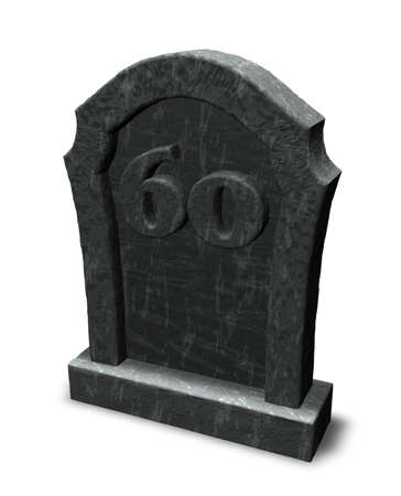 gravestone with number sixty on white background - 3d illustration illustration