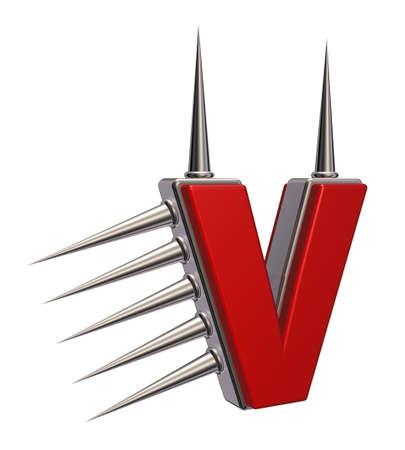 prickles: letter v with metal prickles on white background - 3d illustration