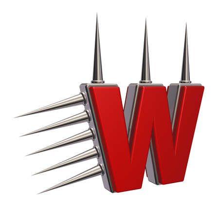 letter w with metal prickles on white background - 3d illustration illustration
