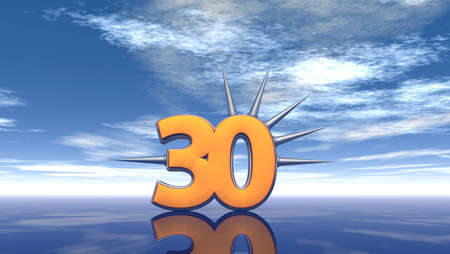 thirty: number thirty with prickles under cloudy blue sky - 3d illustration Stock Photo