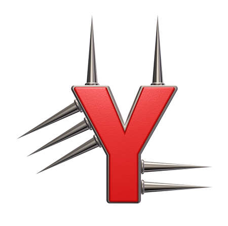 prickles: letter y with metal prickles on white background - 3d illustration Stock Photo