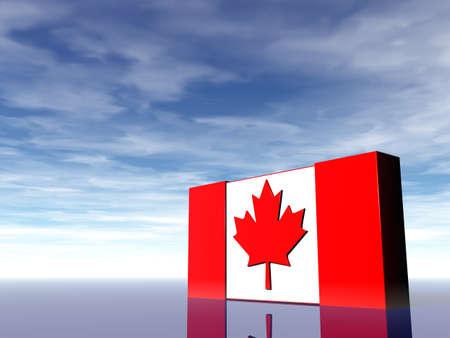 canada flag: canada flag under cloudy blue sky - 3d illustration