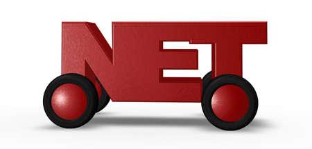 net tag on wheels - 3d illustration Stock Illustration - 16393727