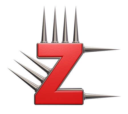 prickles: letter z with metal prickles on white background - 3d illustration