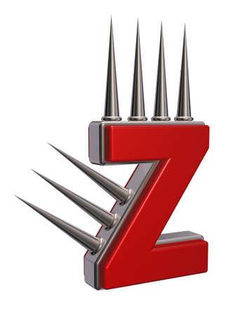 letter z with metal prickles on white background - 3d illustration Stock Illustration - 16391429